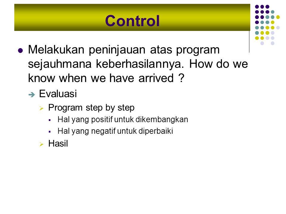 Control Melakukan peninjauan atas program sejauhmana keberhasilannya. How do we know when we have arrived