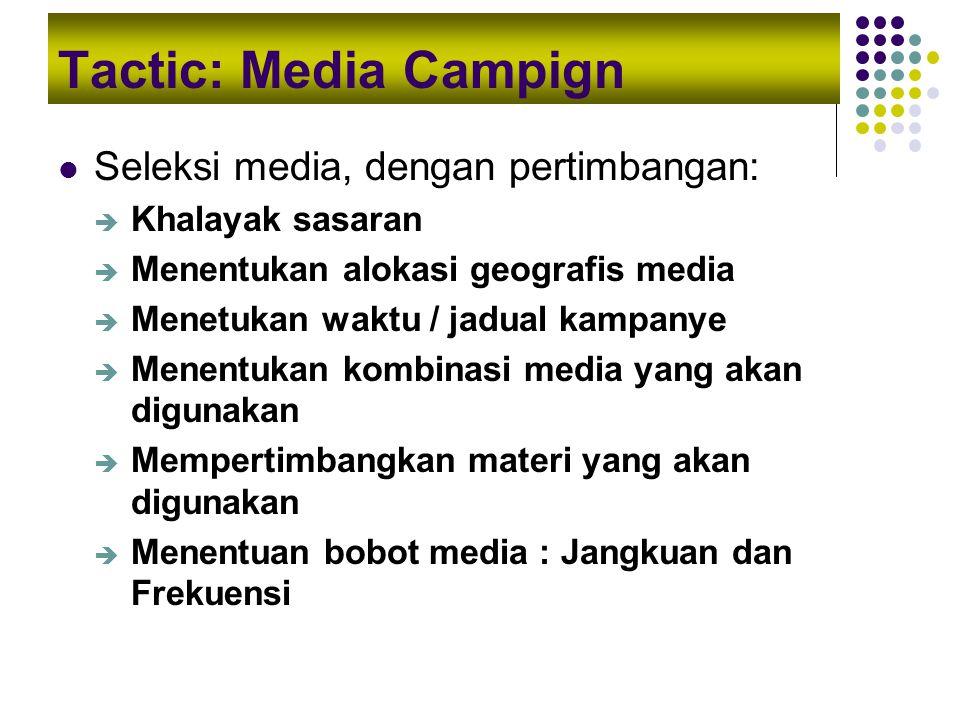 Tactic: Media Campign Seleksi media, dengan pertimbangan: