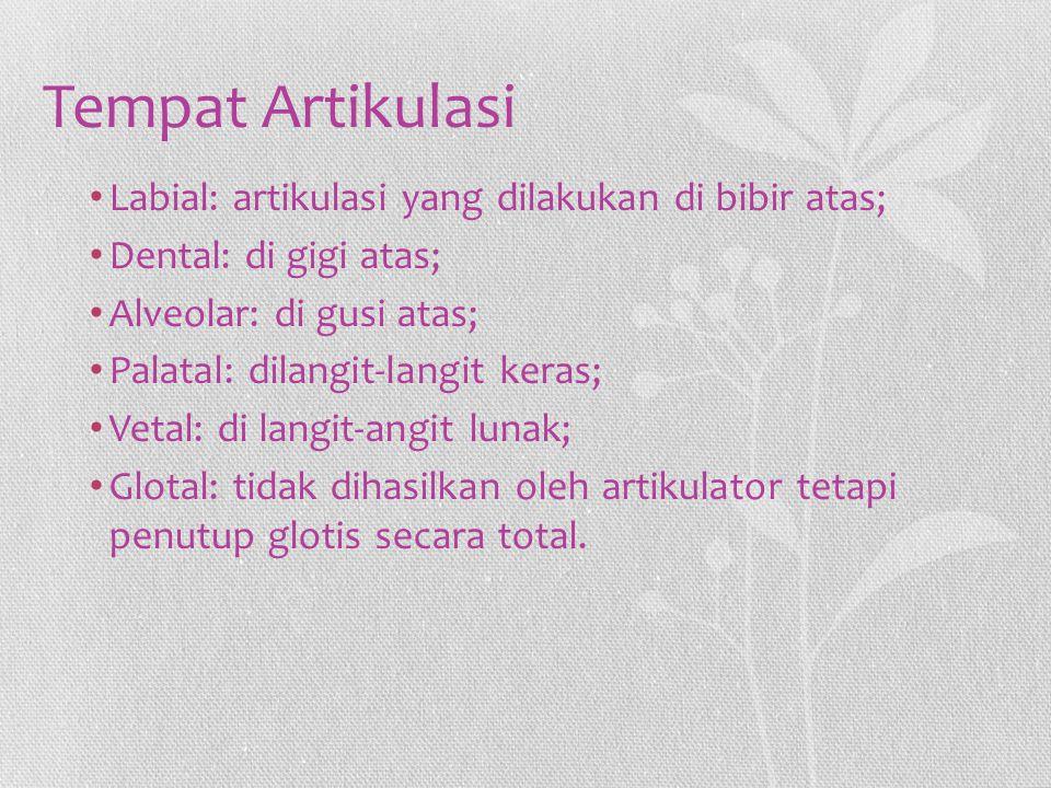 Tempat Artikulasi Labial: artikulasi yang dilakukan di bibir atas;