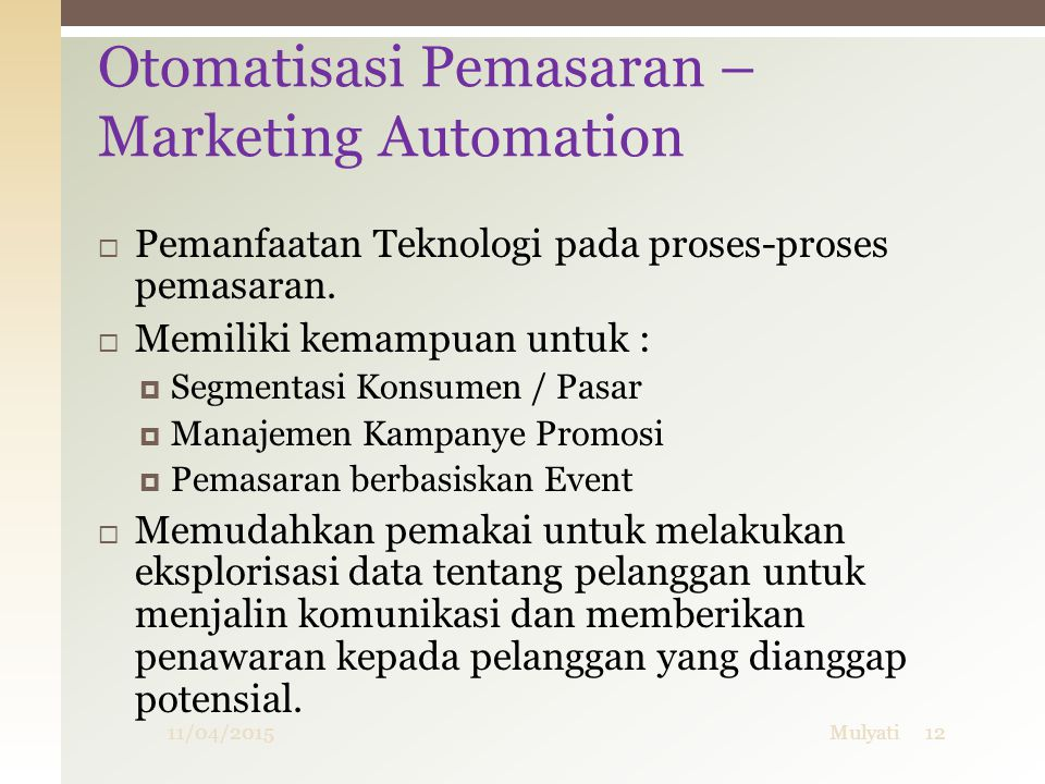Otomatisasi Pemasaran – Marketing Automation