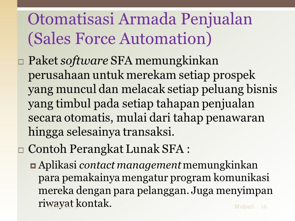 Otomatisasi Armada Penjualan (Sales Force Automation)