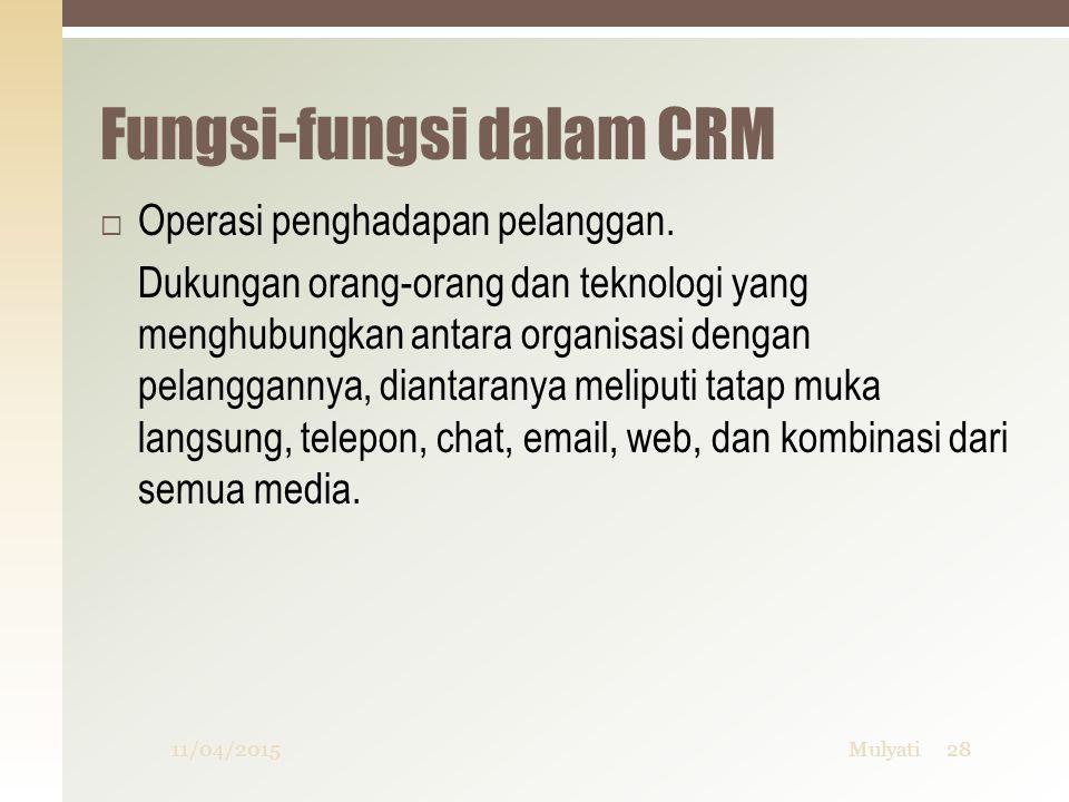 Fungsi-fungsi dalam CRM