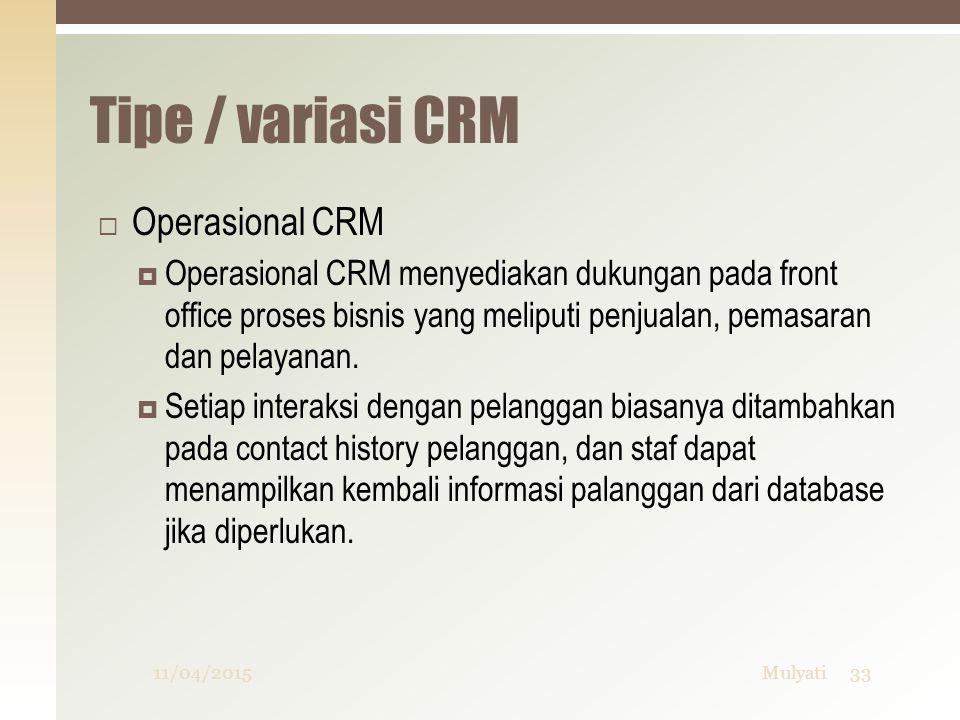 Tipe / variasi CRM Operasional CRM