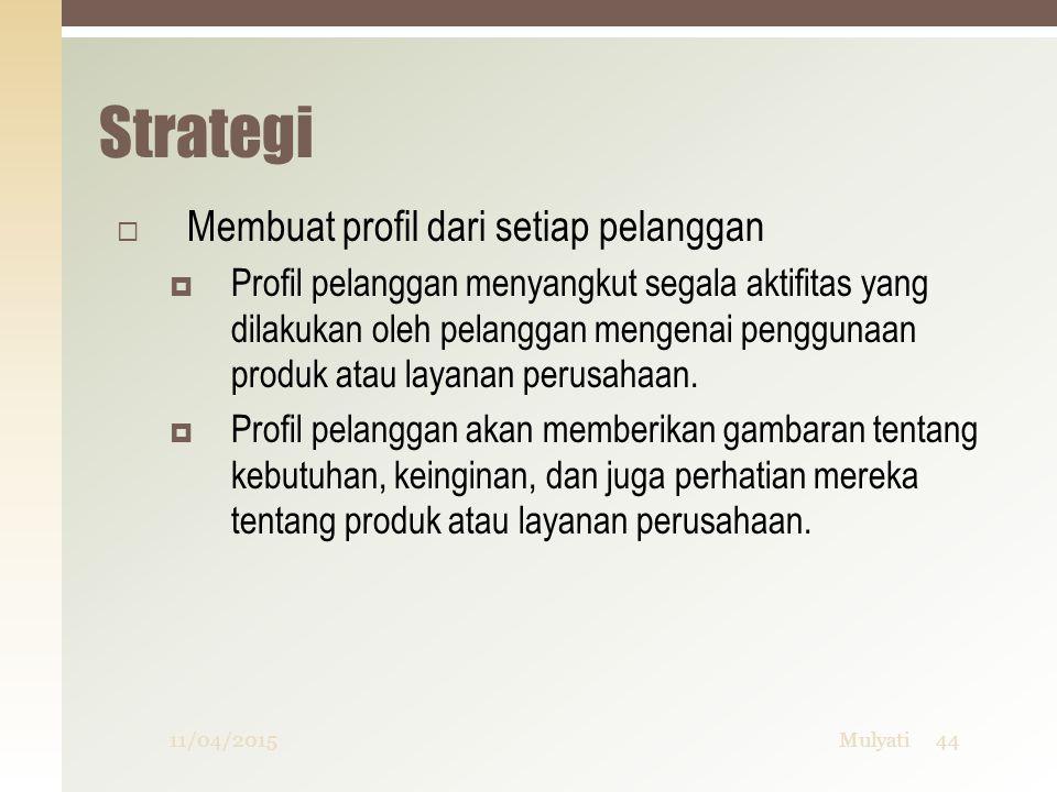 Strategi Membuat profil dari setiap pelanggan