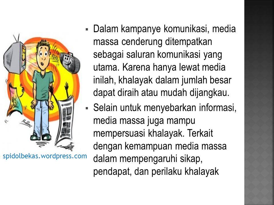 Dalam kampanye komunikasi, media massa cenderung ditempatkan sebagai saluran komunikasi yang utama. Karena hanya lewat media inilah, khalayak dalam jumlah besar dapat diraih atau mudah dijangkau.