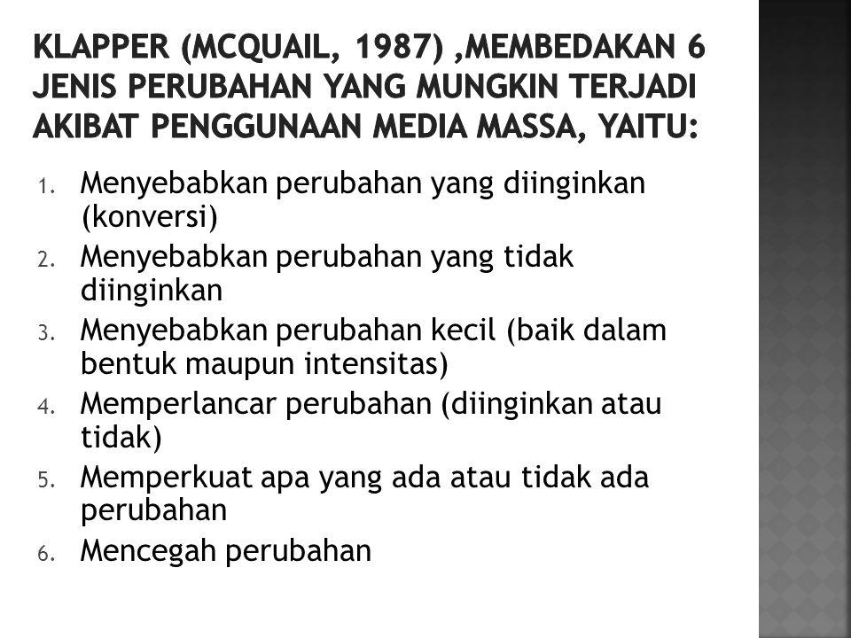 Klapper (Mcquail, 1987) ,membedakan 6 jenis perubahan yang mungkin terjadi akibat penggunaan media massa, yaitu: