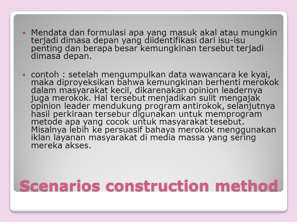 Scenarios construction method
