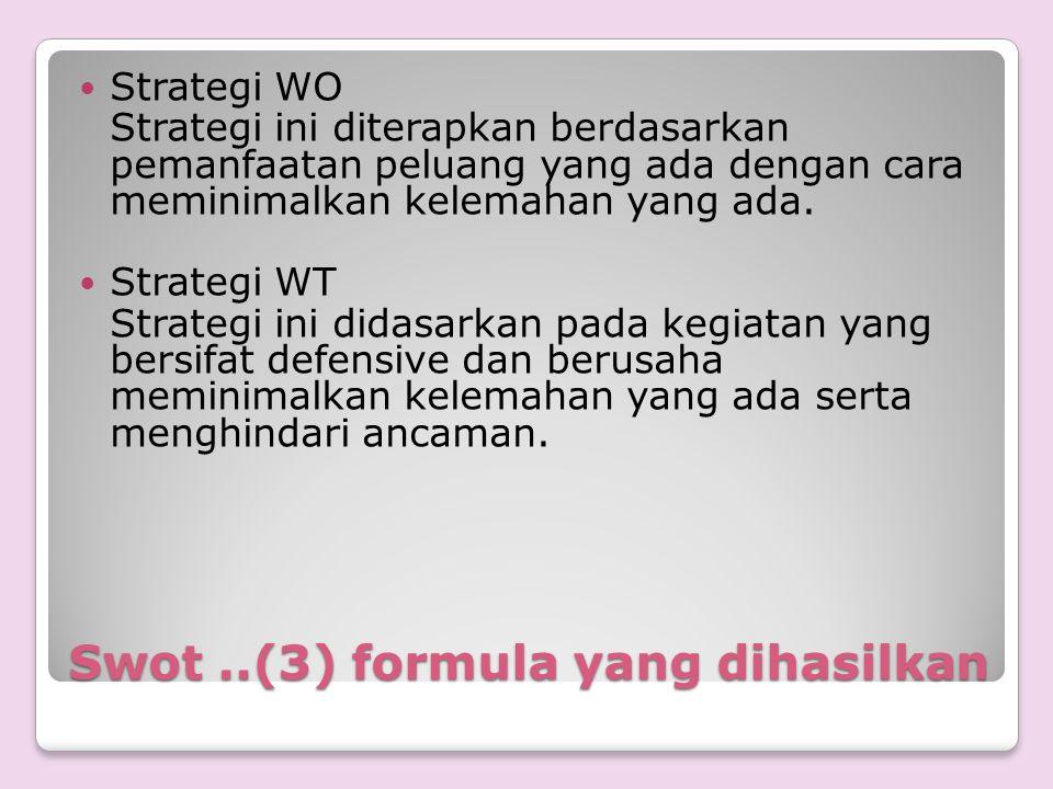 Swot ..(3) formula yang dihasilkan