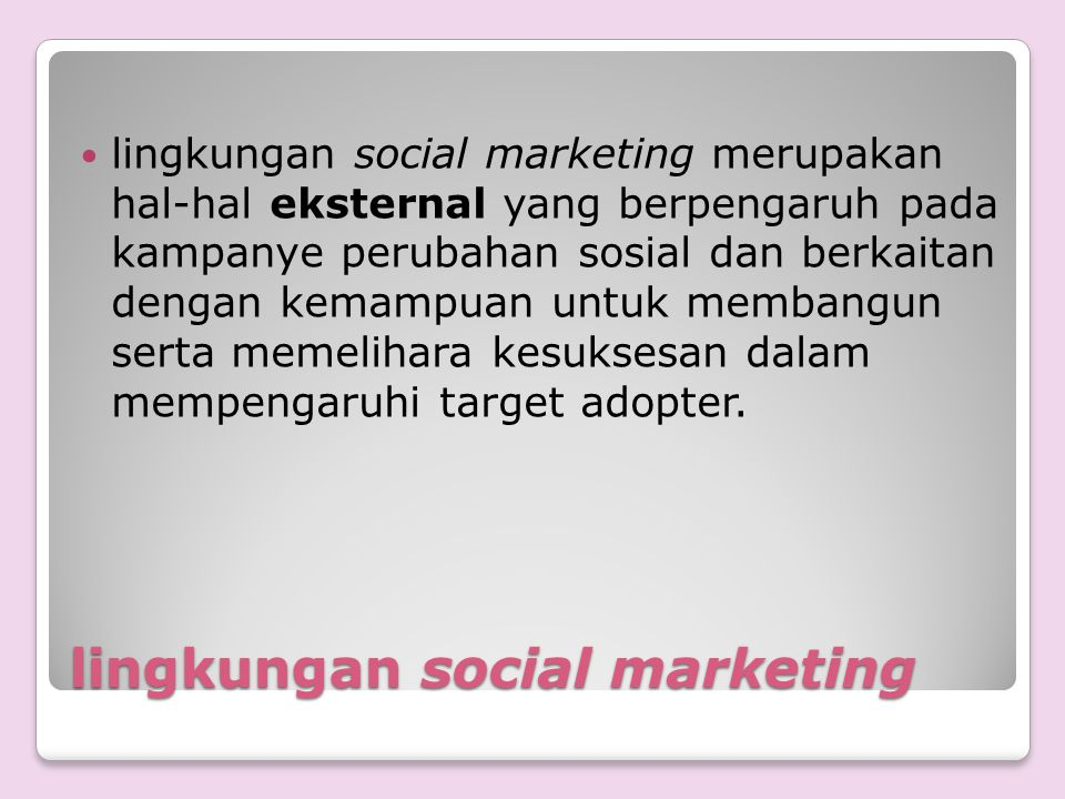 lingkungan social marketing