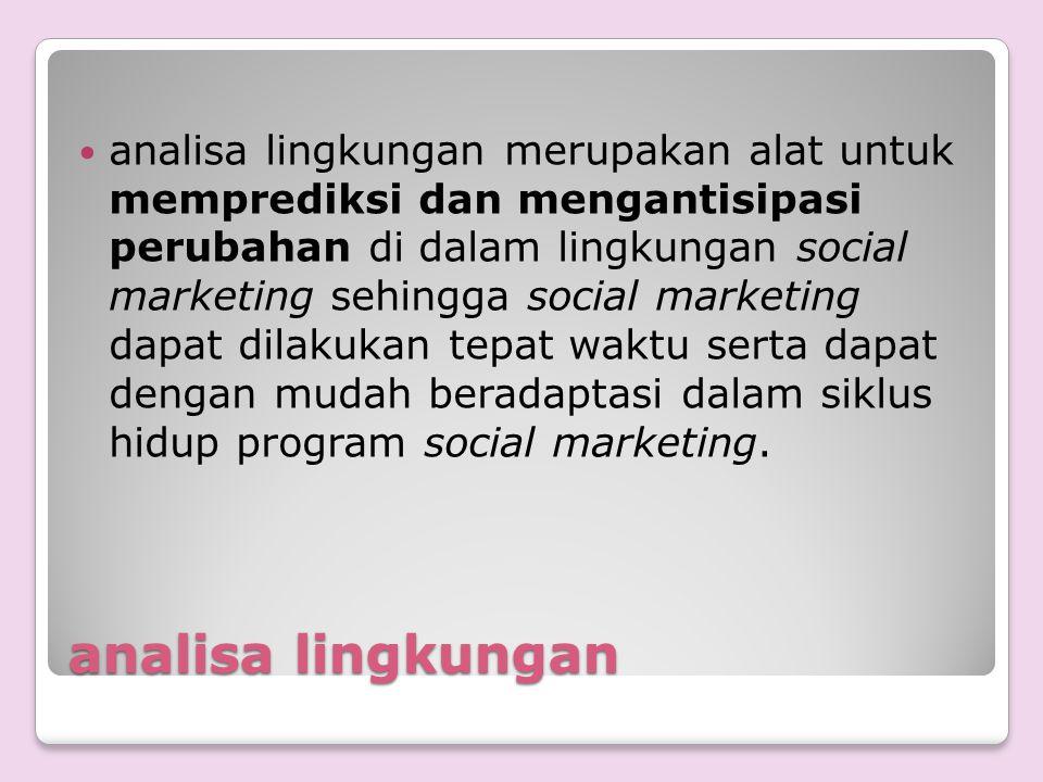 analisa lingkungan merupakan alat untuk memprediksi dan mengantisipasi perubahan di dalam lingkungan social marketing sehingga social marketing dapat dilakukan tepat waktu serta dapat dengan mudah beradaptasi dalam siklus hidup program social marketing.