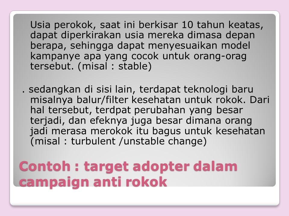 Contoh : target adopter dalam campaign anti rokok