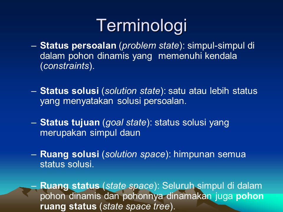 Terminologi Status persoalan (problem state): simpul-simpul di dalam pohon dinamis yang memenuhi kendala (constraints).