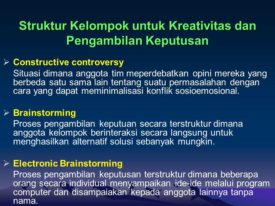 Struktur Kelompok untuk Kreativitas dan Pengambilan Keputusan