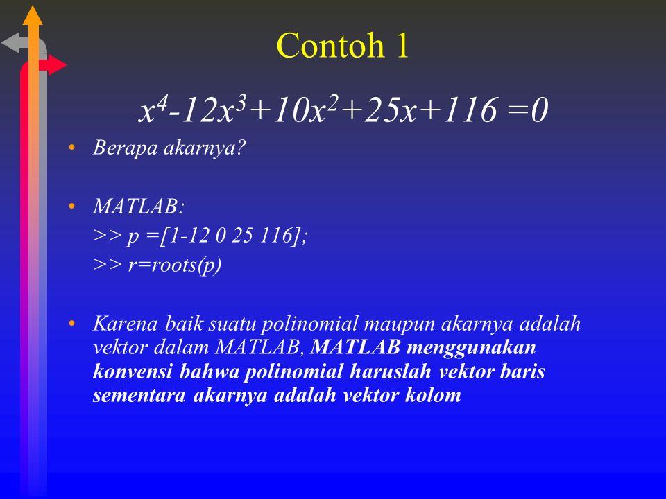 Contoh 1 x4-12x3+10x2+25x+116 =0 Berapa akarnya MATLAB: