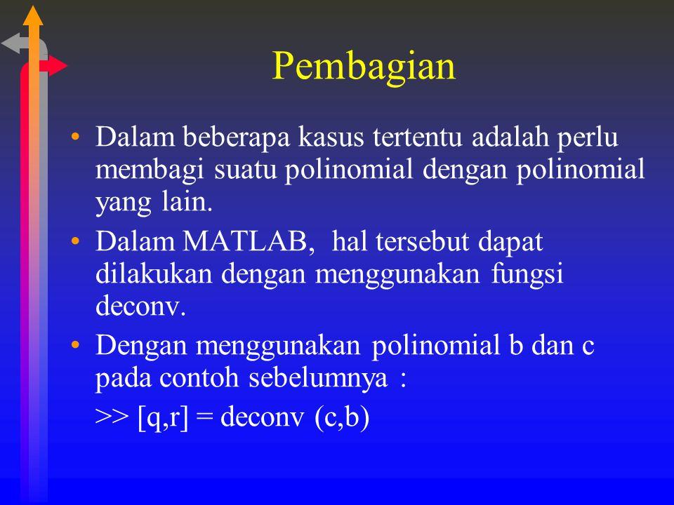 Pembagian Dalam beberapa kasus tertentu adalah perlu membagi suatu polinomial dengan polinomial yang lain.