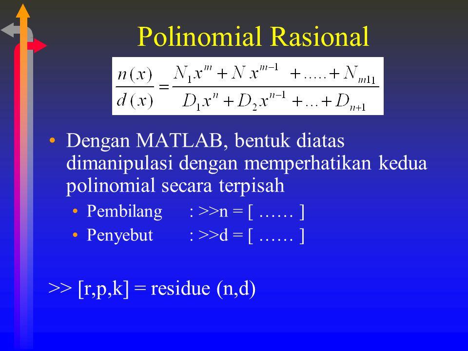 Polinomial Rasional Dengan MATLAB, bentuk diatas dimanipulasi dengan memperhatikan kedua polinomial secara terpisah.