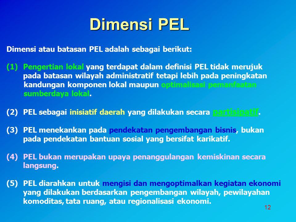 Dimensi PEL Dimensi atau batasan PEL adalah sebagai berikut: