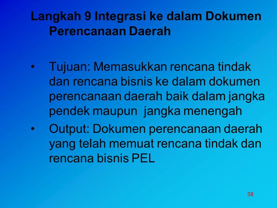 Langkah 9 Integrasi ke dalam Dokumen Perencanaan Daerah