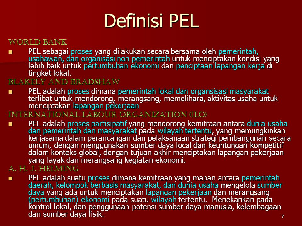 Definisi PEL World Bank