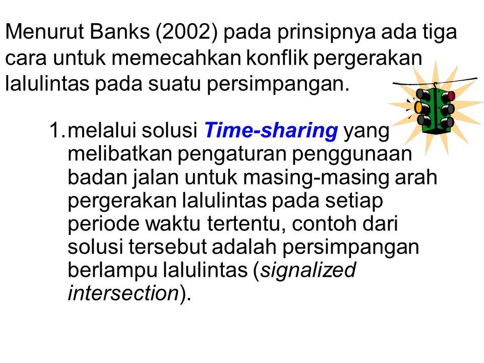 Menurut Banks (2002) pada prinsipnya ada tiga cara untuk memecahkan konflik pergerakan lalulintas pada suatu persimpangan.