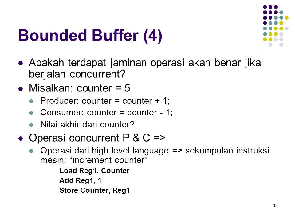 Bounded Buffer (4) Apakah terdapat jaminan operasi akan benar jika berjalan concurrent Misalkan: counter = 5.