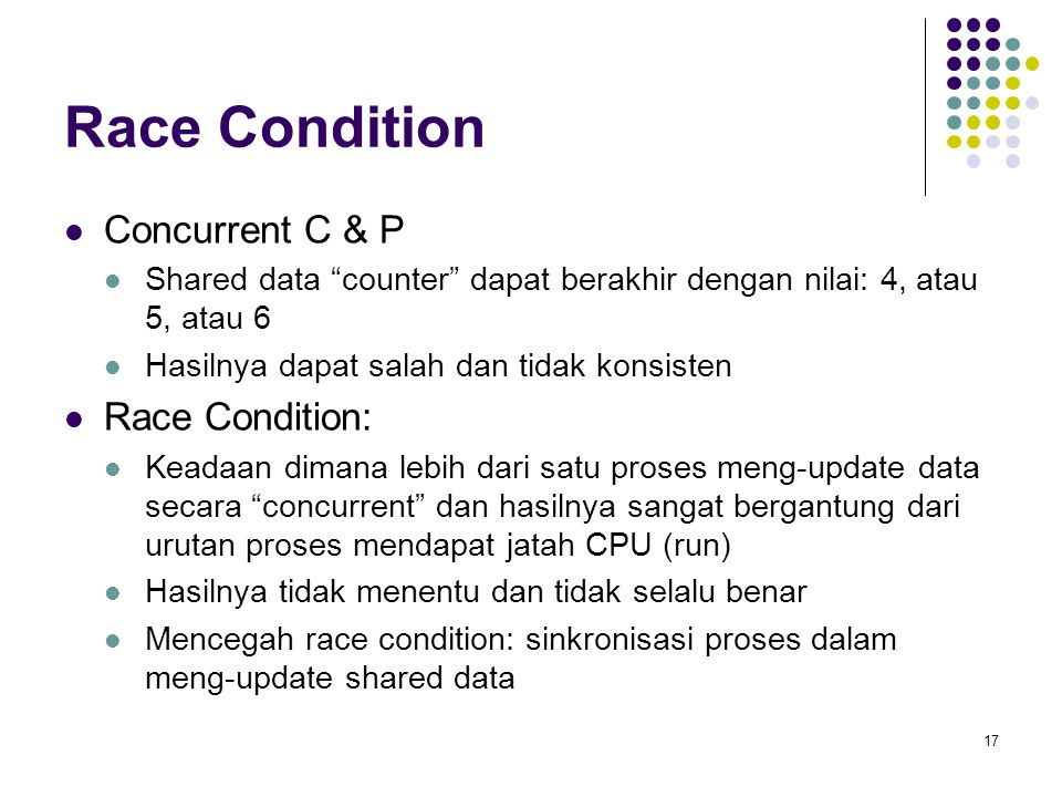 Race Condition Concurrent C & P Race Condition: