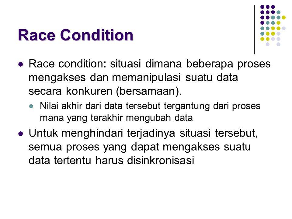 Race Condition Race condition: situasi dimana beberapa proses mengakses dan memanipulasi suatu data secara konkuren (bersamaan).