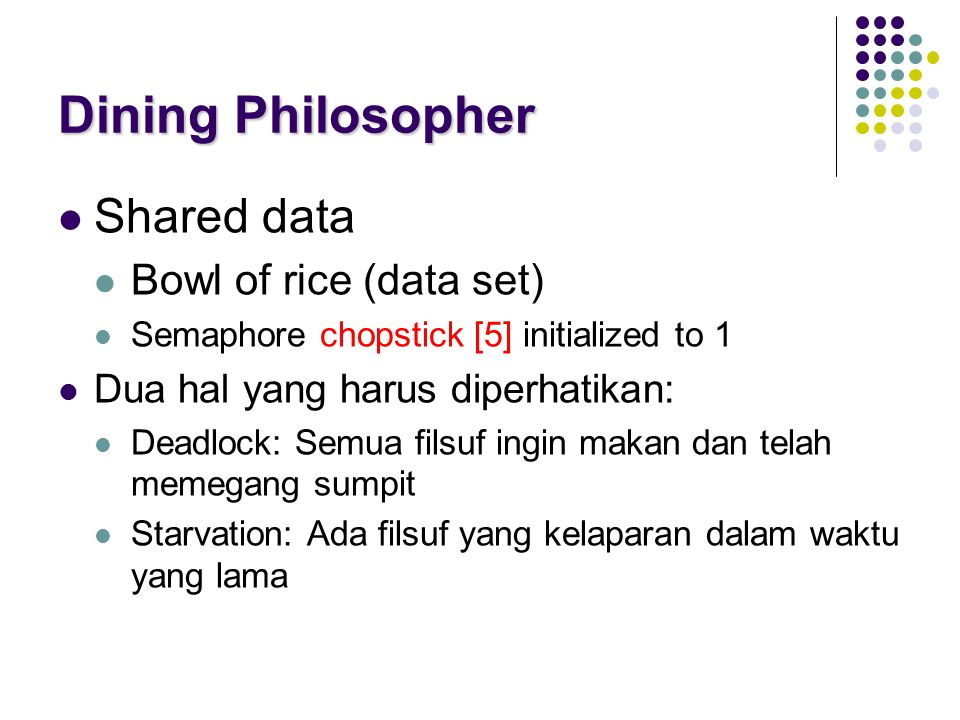 Dining Philosopher Shared data Bowl of rice (data set)