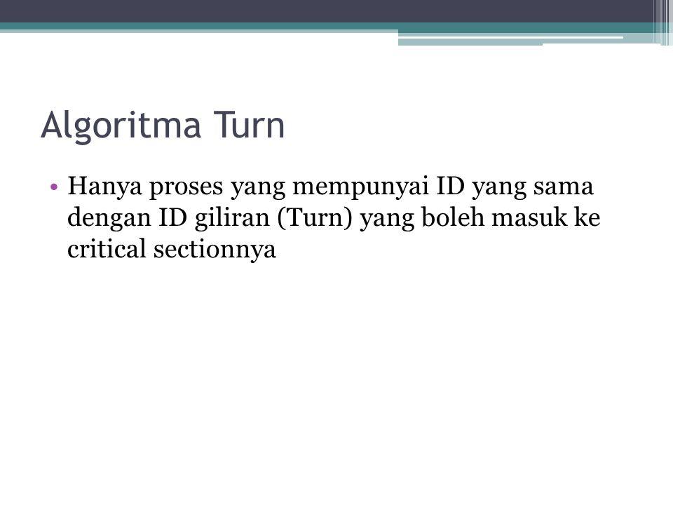 Algoritma Turn Hanya proses yang mempunyai ID yang sama dengan ID giliran (Turn) yang boleh masuk ke critical sectionnya.
