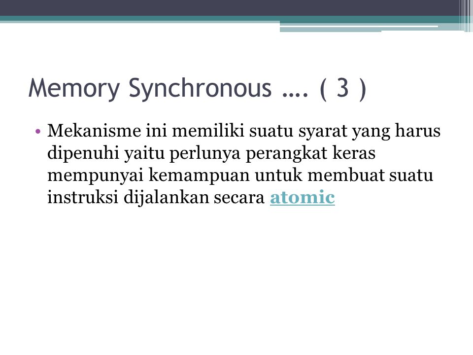 Memory Synchronous …. ( 3 )