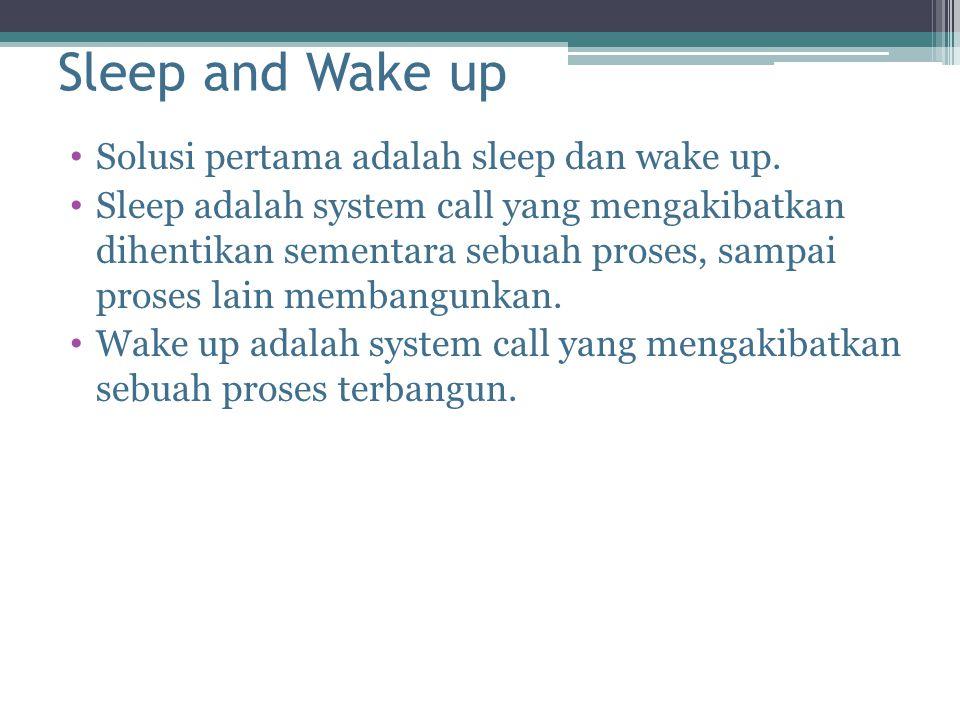 Sleep and Wake up Solusi pertama adalah sleep dan wake up.
