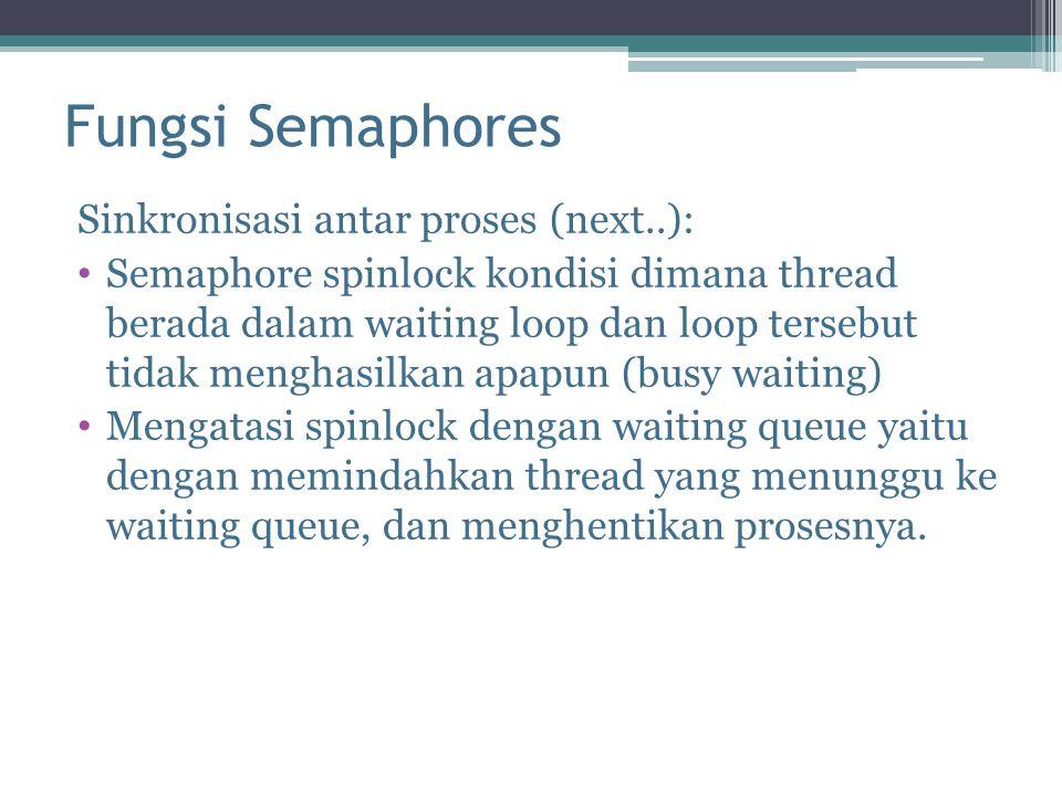 Fungsi Semaphores Sinkronisasi antar proses (next..):