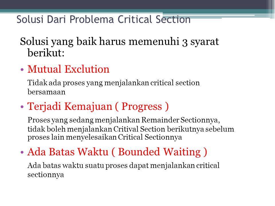 Solusi Dari Problema Critical Section