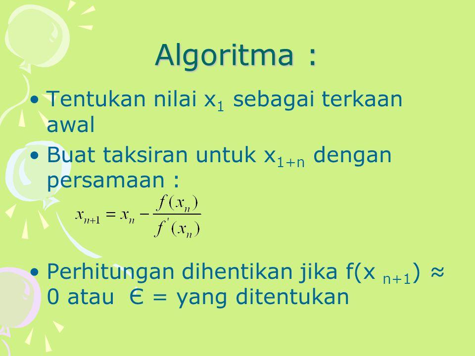 Algoritma : Tentukan nilai x1 sebagai terkaan awal