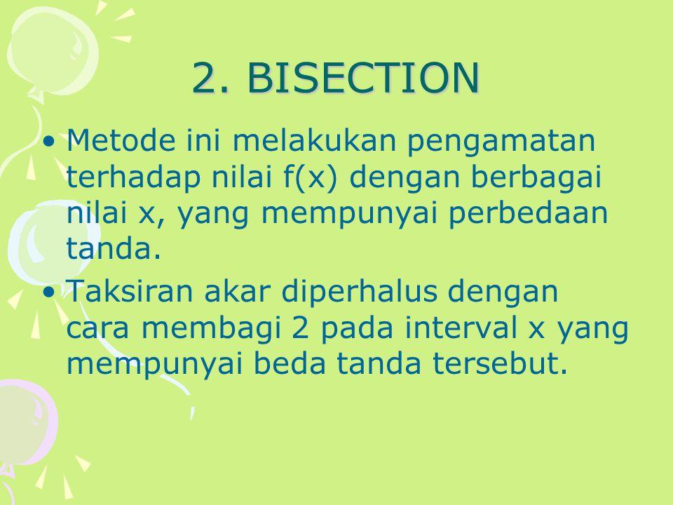 2. BISECTION Metode ini melakukan pengamatan terhadap nilai f(x) dengan berbagai nilai x, yang mempunyai perbedaan tanda.