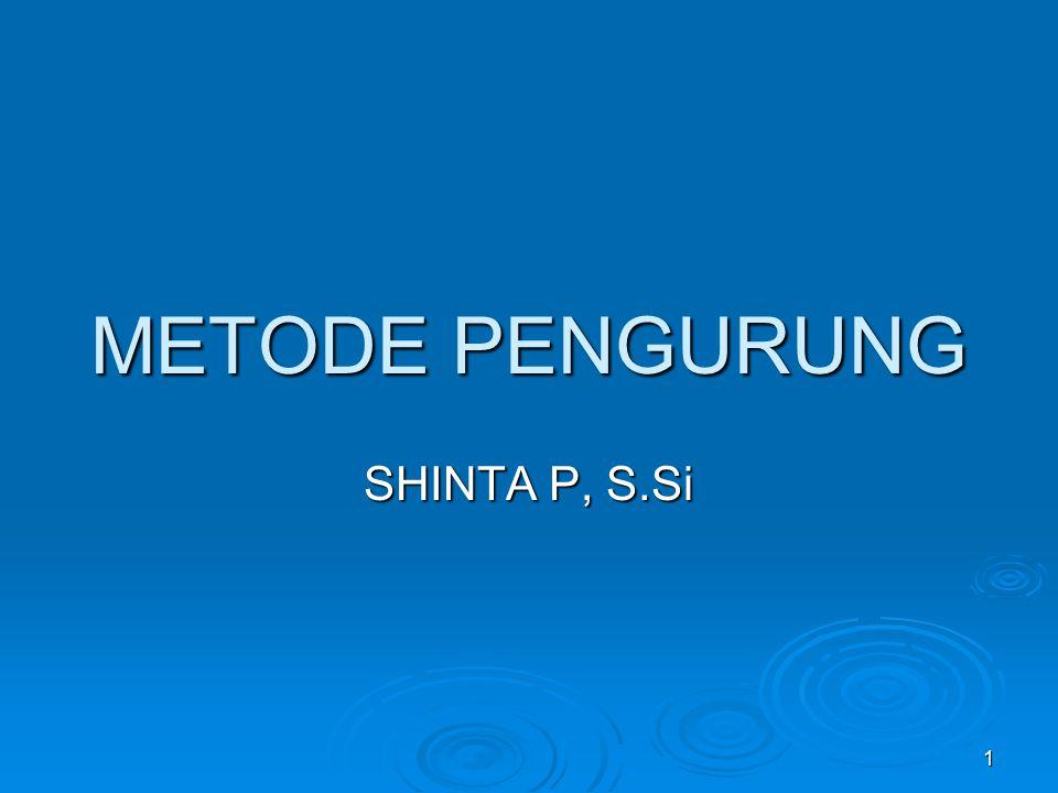 METODE PENGURUNG SHINTA P, S.Si