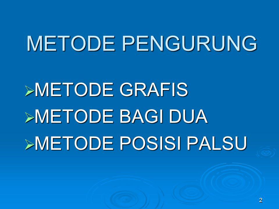 METODE PENGURUNG METODE GRAFIS METODE BAGI DUA METODE POSISI PALSU