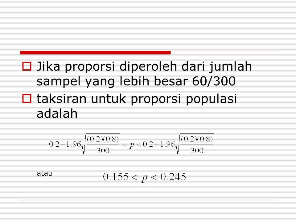 Jika proporsi diperoleh dari jumlah sampel yang lebih besar 60/300