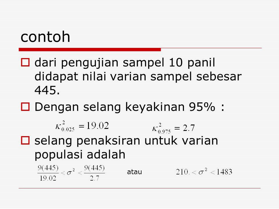 contoh dari pengujian sampel 10 panil didapat nilai varian sampel sebesar 445. Dengan selang keyakinan 95% :