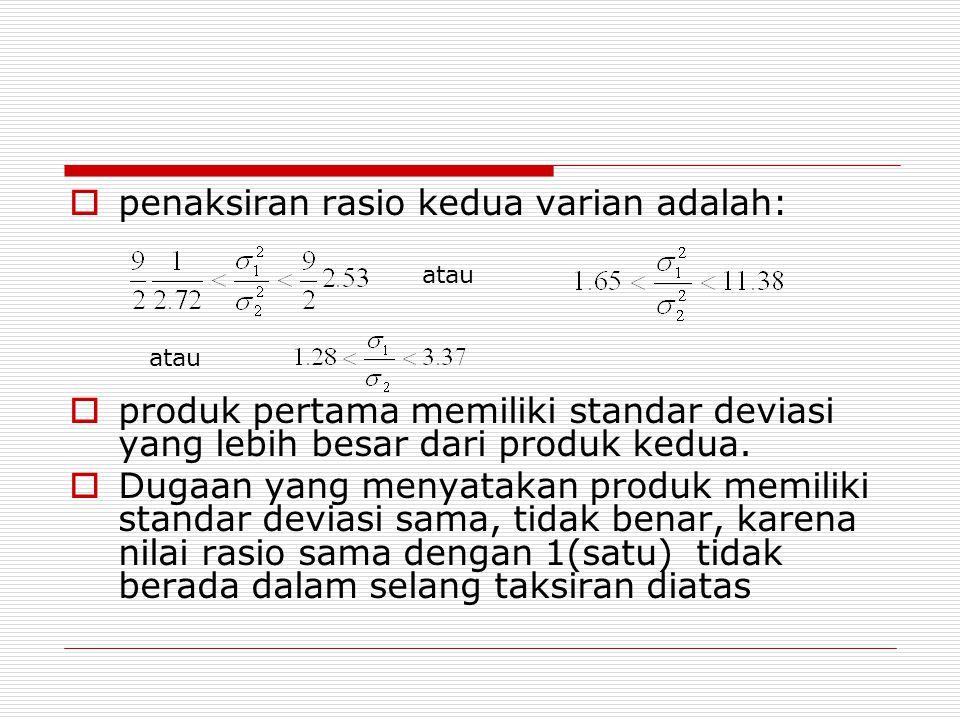 penaksiran rasio kedua varian adalah: