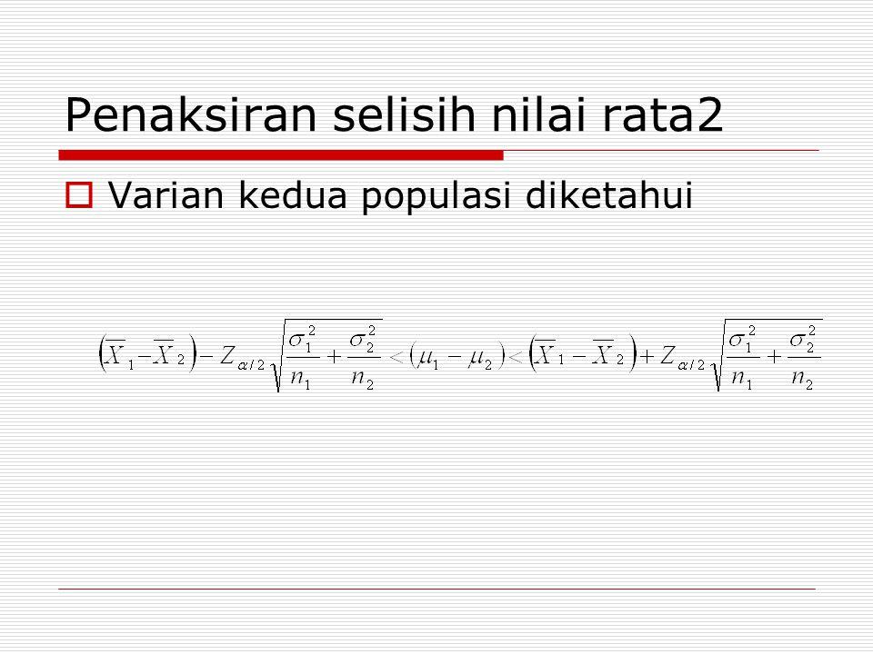 Penaksiran selisih nilai rata2