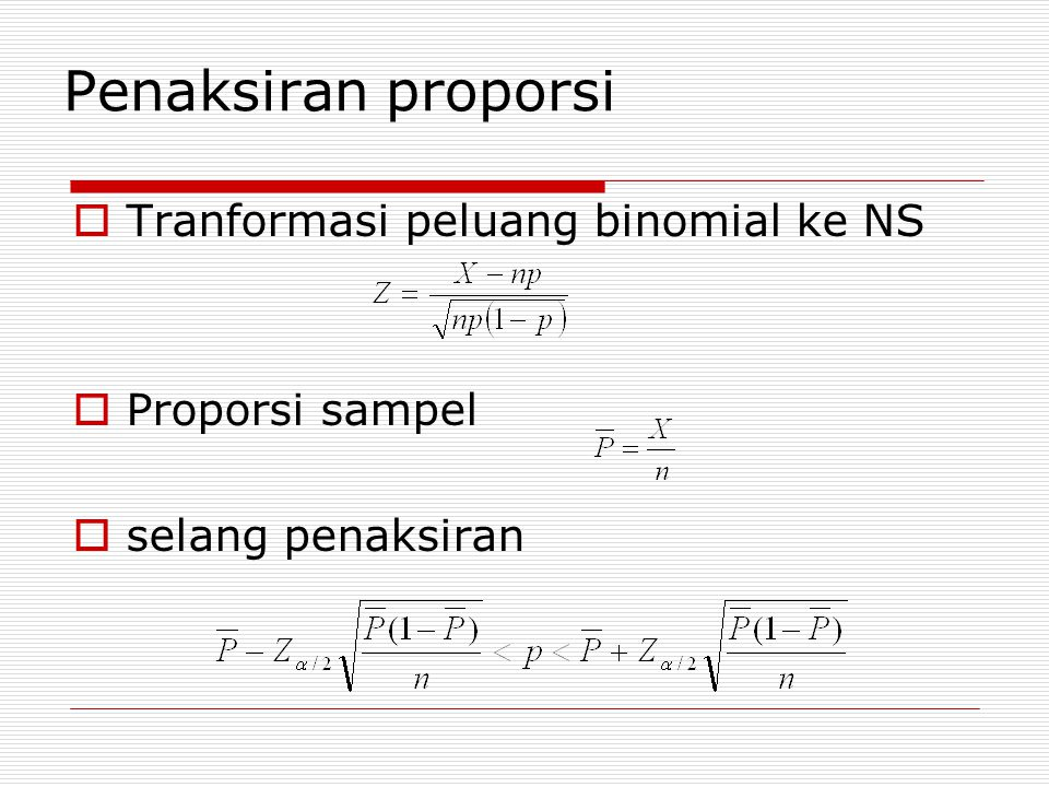 Penaksiran proporsi Tranformasi peluang binomial ke NS Proporsi sampel