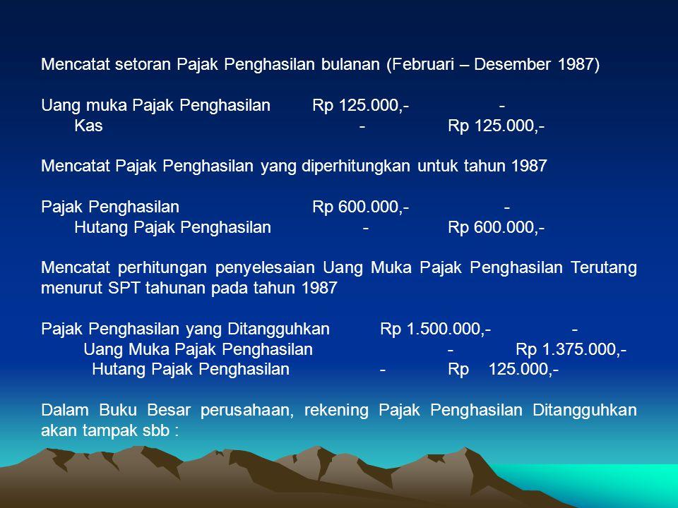 Mencatat setoran Pajak Penghasilan bulanan (Februari – Desember 1987)