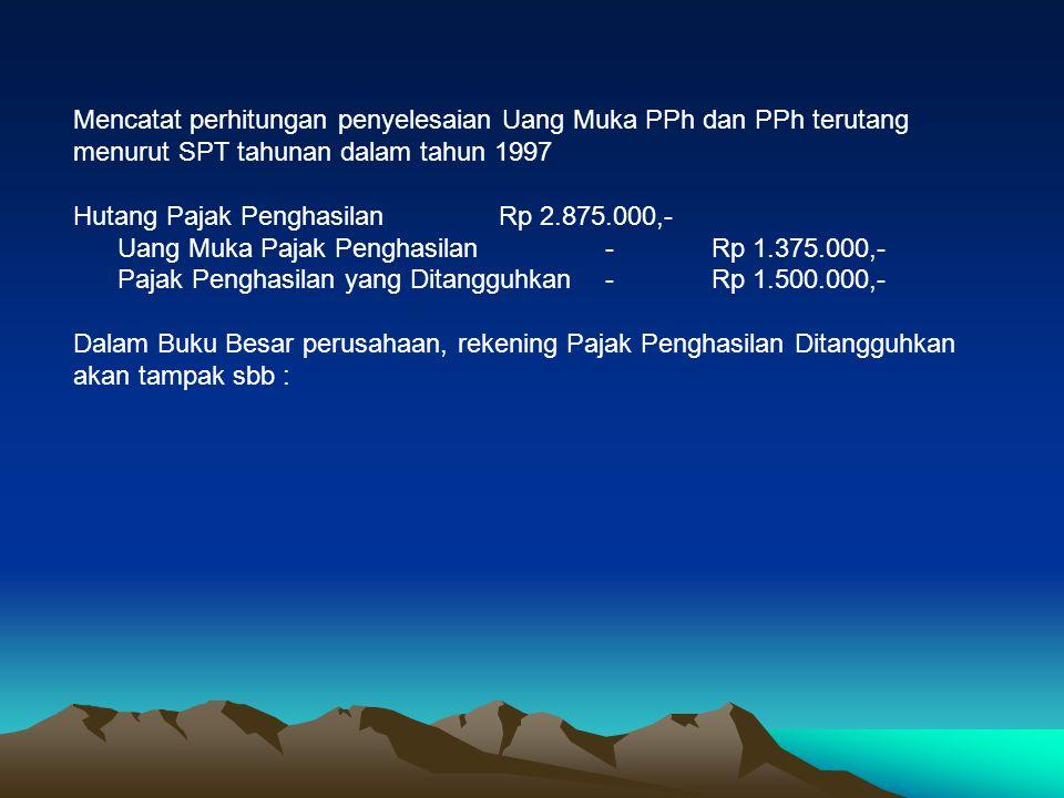 Mencatat perhitungan penyelesaian Uang Muka PPh dan PPh terutang menurut SPT tahunan dalam tahun 1997