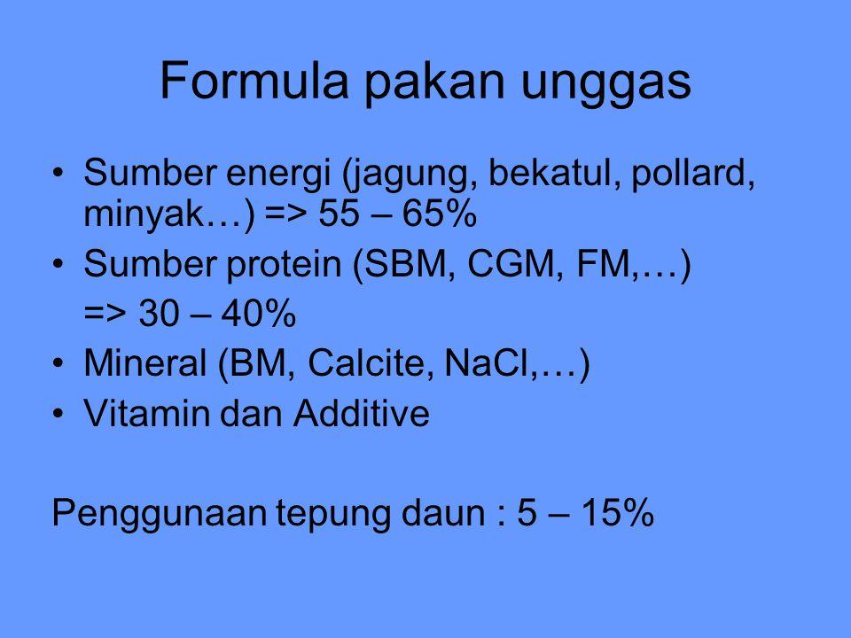 Formula pakan unggas Sumber energi (jagung, bekatul, pollard, minyak…) => 55 – 65% Sumber protein (SBM, CGM, FM,…)