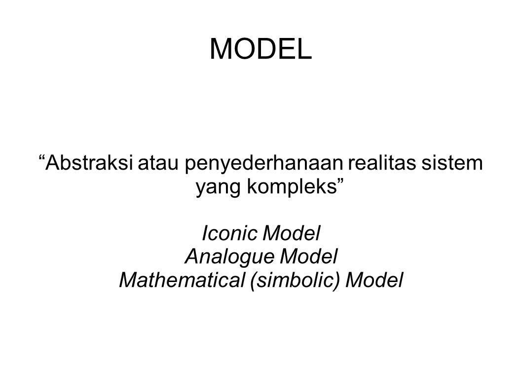MODEL Abstraksi atau penyederhanaan realitas sistem yang kompleks