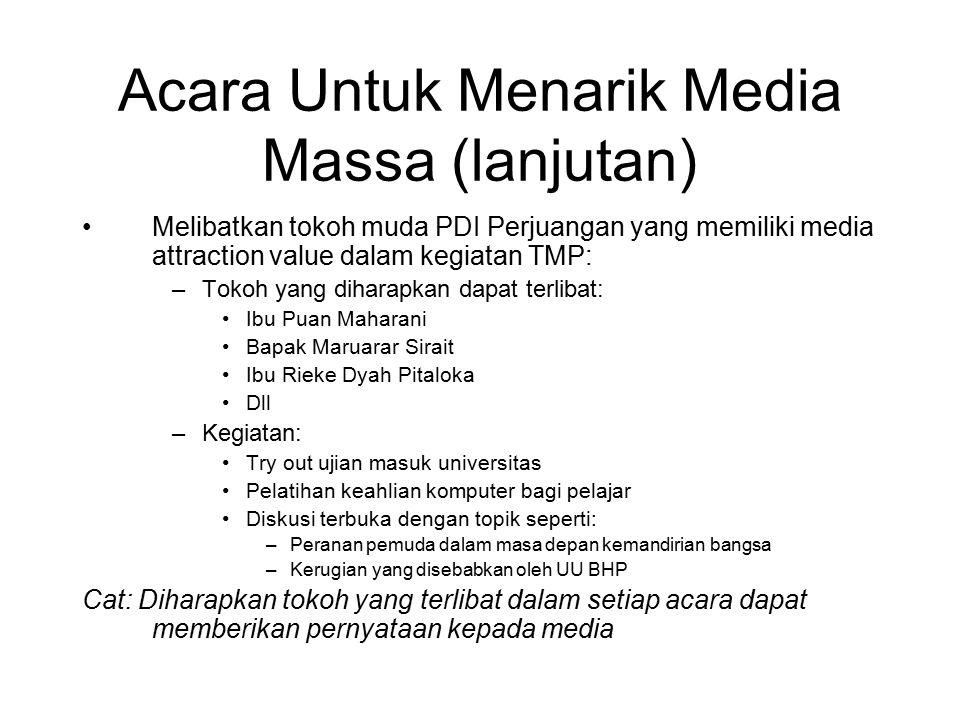 Acara Untuk Menarik Media Massa (lanjutan)