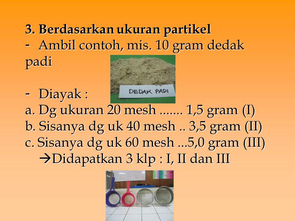 3. Berdasarkan ukuran partikel - Ambil contoh, mis