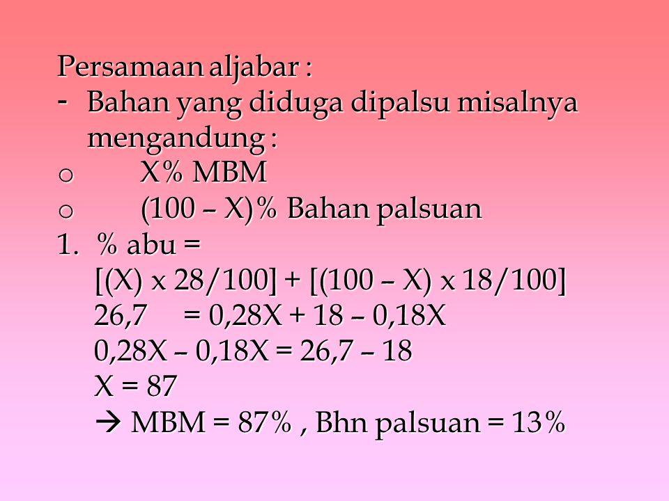 Persamaan aljabar : - Bahan yang diduga dipalsu misalnya mengandung : o X% MBM o (100 – X)% Bahan palsuan 1.