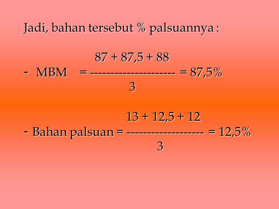Jadi, bahan tersebut % palsuannya : 87 + 87,5 + 88 - MBM